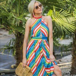 Rainbow midi dress